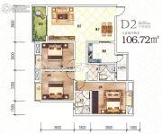 龙湖上院3室2厅2卫106平方米户型图