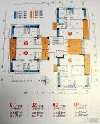 畔山四季公馆3室2厅2卫124平方米户型图