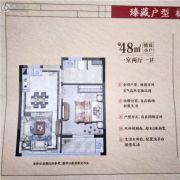 宏地・亲和雅园1室2厅1卫48平方米户型图