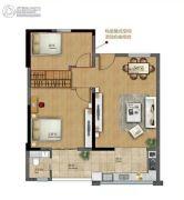 广盈�o荟2室2厅1卫80--90平方米户型图