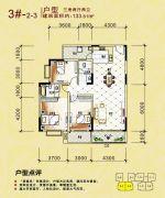 东兴花园3室2厅2卫133平方米户型图