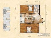 金山翰林苑2室1厅1卫71平方米户型图