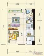 五一中央领御1室1厅0卫57平方米户型图