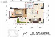 江岸国际1室1厅1卫54平方米户型图