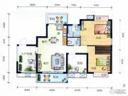 丽水南珠花园2室2厅2卫87平方米户型图