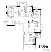 地久艳阳天3室2厅2卫135平方米户型图
