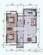 中铁丽景书香2室2厅1卫83平方米户型图