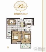 亚星锦绣山河2室2厅1卫88平方米户型图
