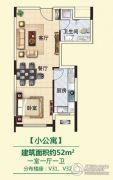 创业・齐悦花园1室1厅1卫52平方米户型图
