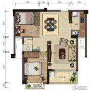 悦泰春天2室2厅1卫71平方米户型图
