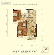前川欣城二期3室2厅1卫95平方米户型图