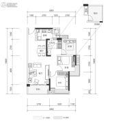 壹城中心3室2厅1卫84平方米户型图