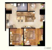 文化空间2室2厅1卫94平方米户型图