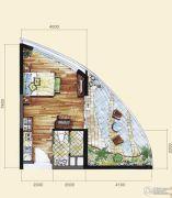 长岛蓝湾1室1厅1卫52平方米户型图