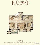 香树湾馨苑2室2厅1卫90平方米户型图
