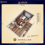 红枫金座1室1厅1卫42平方米户型图