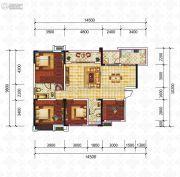 滨江国际4室2厅2卫113平方米户型图