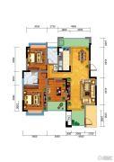 百江御城・龙脉3室2厅2卫133平方米户型图