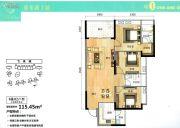 飞来湖一号3室2厅2卫115平方米户型图