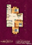 恒祥城3室2厅2卫90平方米户型图