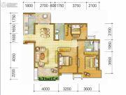 中海右岸3室2厅2卫105平方米户型图