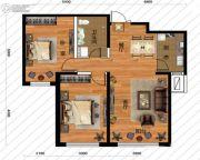 鹏博金城珑园2室2厅1卫98平方米户型图