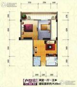 富桂・香江国际2室1厅1卫75平方米户型图