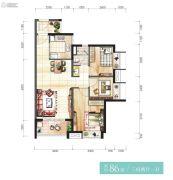 时代香海彼岸3室2厅1卫86平方米户型图