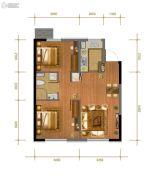 中冶・德贤公馆2室2厅1卫76平方米户型图